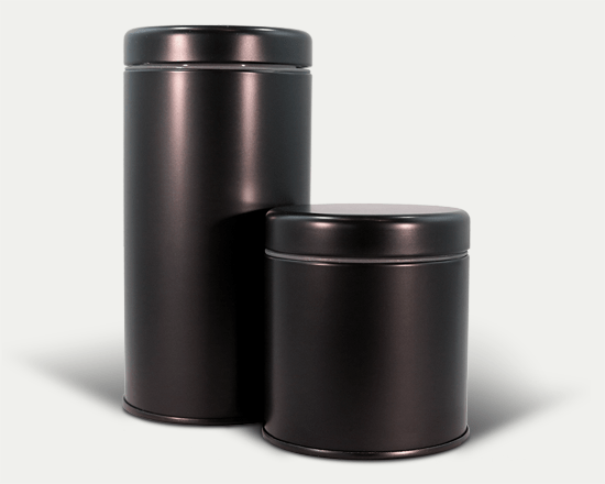 Two matte black child resistant LocTin marijuana tins in the large and medium sizes.