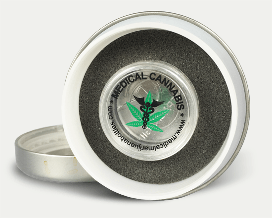 LocTin cannabis tin with medical cannabis concentrate insert.
